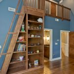 Loft Ladder Ideas Wood Stairs Hardwood Floors Wall Lamp Cabinets Built In Bookshelves Mirror Decorations Ceiling Lights Traditional Design