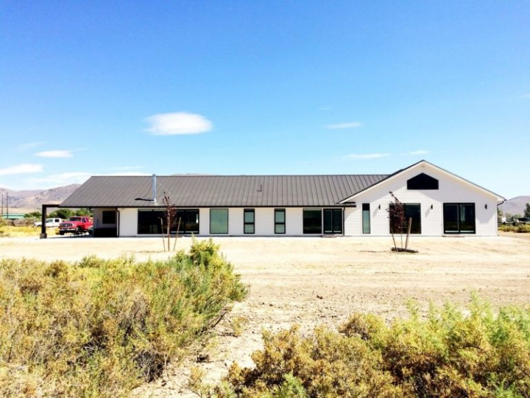 Luxury Ranch House Plans Gable Roof White Exterior Double Glass Doors Windows Farmhouse Design X
