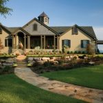 Luxury Ranch House Plans Gable Roof Windows Door Front Porch Stone Pavers Side Wing Steps Traditional Design