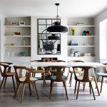 Mid Century Furniture Los Angeles Narrow Table Chairs Shelves White Cabinets Decorative Mirror Black Pendant Hardwood Floors Scandinavian Design