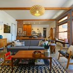 Mid Century Furniture Los Angeles Pendant Sideboard Couch Armchairs Painting Narrow Table Island Cabinet Glass Door Granite Floors Midcentury Design