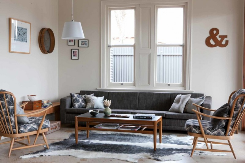 mid century furniture los angeles sofa armchairs coffee table sideboard carpet wall decorations paintings pendant window midcentury design