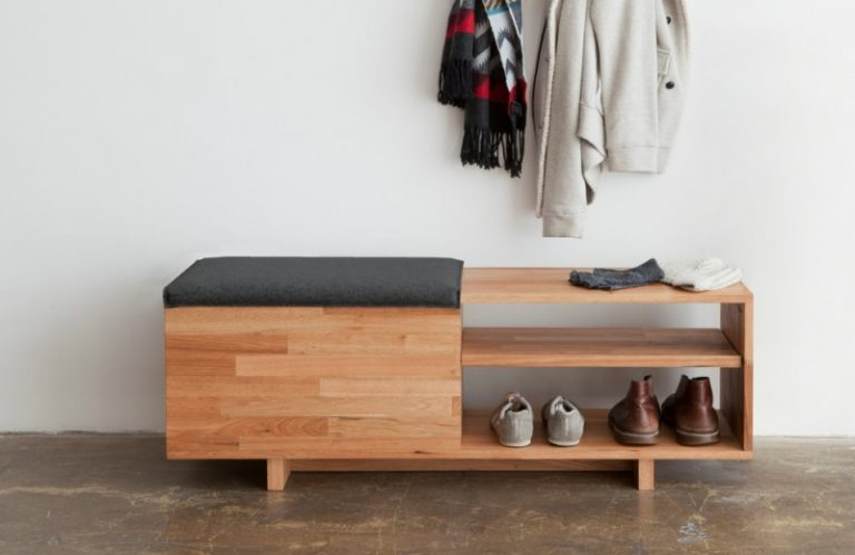 Modern Entry Bench Lax Storage Shoes Shelf Hanging Coat Wooden