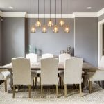 Modern Formal Dining Room Set Carpet Big Window Chairs Table Beautiful Hanging Lamps Transitional Style
