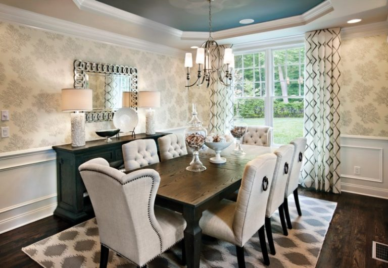 Modern Formal Dining Set Hardwood Floor Carpet Ceiling Lights Wall Patterns  Table Tufted Chairs Window Chandelier