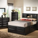 Modern King Size Bedroom Sets Fairview Platform Storage Bedroom Set With Drawers Brown Soft Rug Black Bed Cabinet