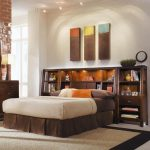 Modern King Size Bedroom Sets Tribecca Queen Bookcase Bed With Nightstands Orange Palm Beach Pillow Open Storages Cream And Black Rug