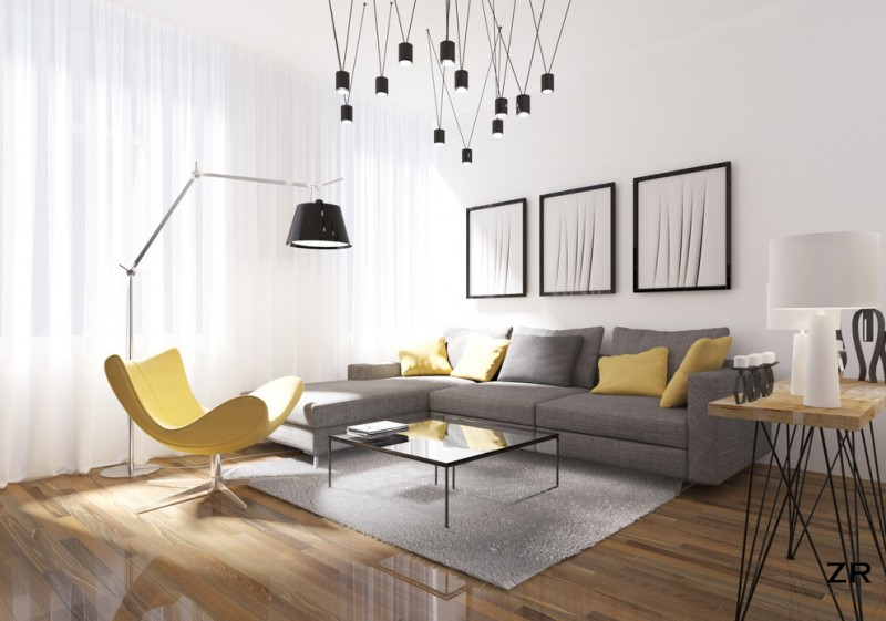 modern minimalist living room grey couch with yellow and grey decorative pillows yellow reading chair square glass top center table medium toned and glossy wood floors grey area rug