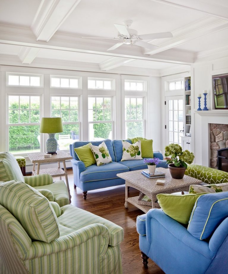 Morning Room Furnitue Blue Sofa Green Couch Ceiling Fan Wall Mounted Tv  Rattan Table Stone Fireplace