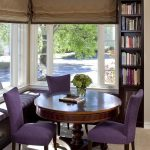 Morning Room Furniture Purple Chairs Round Top Table Corner Bench Big Window Bookshelves Books Traditional Style