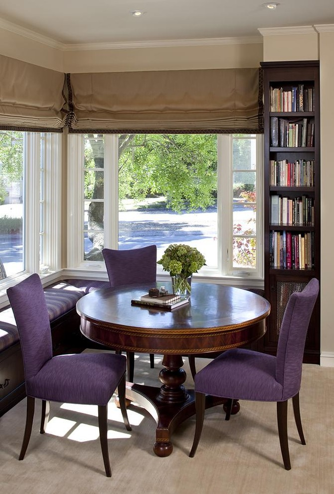 Morning Room Furniture Purple Chairs Round Top Table Corner Bench Big  Window Bookshelves Books Traditional Style Part 60