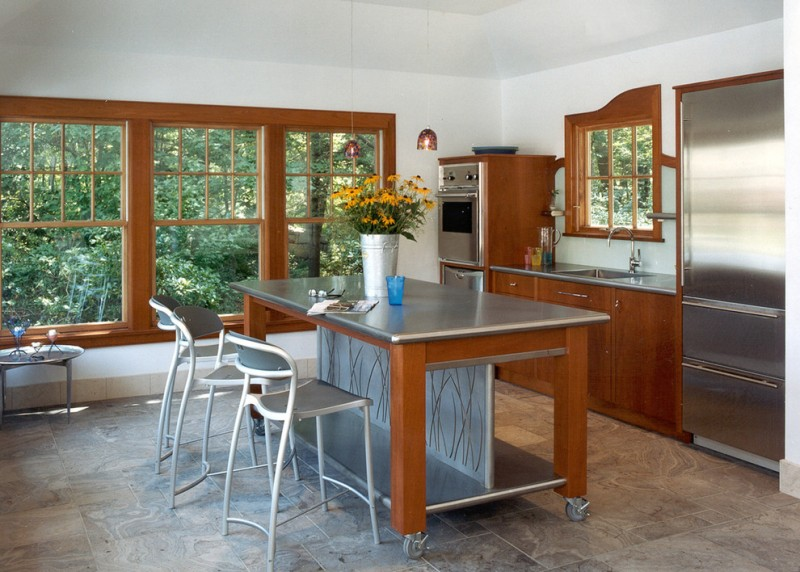 movable kitchen island with seating big window chairs small table faucet sink flowers modern room