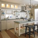 Movable Kitchen Island With Seating Stool Beautiful Floor Faucet Sink Wall Cabinets Chandelier Shelves Backsplash Farmhouse Style Room