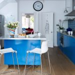 Movable Kitchen Island With Seating Wood Floor Chairs Flowers Sink Faucet Clock Hanging Lamps Stove Shelf Contemporary Room