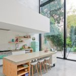 Movable Kitchen With Seating Fridge Stove Faucet Shelves Chairs Clock Big Window Contemporary Room