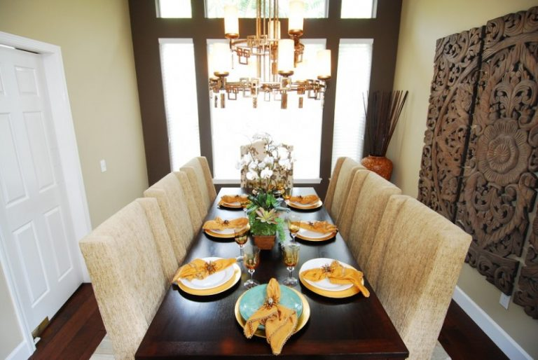 Narrow Dining Room Tables Ornaments Chairs Hardwood Floor Plates Chandelier Asian Style