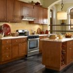 Natural Cherry Kitchen Cabinets Cherry Hardwood Doors Frames Drawer Fronts Wine Storage Simple Chandelier Gold Marble Backsplash