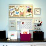organizer with bulletin board, calendar board, tilted shelves, pencil holder