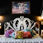 Ornate Bedroom Furniture Bed Throw Pillows Cabinets Drawers Wall Paintings Hanging Lamps Eclectic Design
