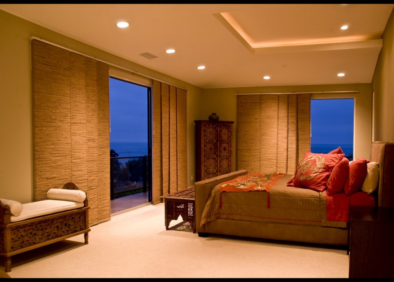 Ornate Bedroom Furniture Chaise Lounge Bedding Ceiling Lamps Wooden  Cabinets Big Windows Railing Doors Curtains Carpet