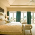 Ornate Bedroom Furniture Curtains Wall Decor Pillows Lamps Bench Doors Ceiling Fan Bed Mediterranean Room