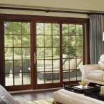 Patio Door Curtain Ideas Transitional Living Room Gray Tall Curtain White Couch Wooden Patio Door