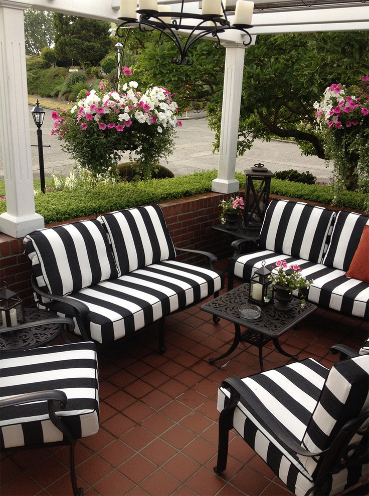 Patio Furniture Seattle Black And White Striped Outdoor Furniture Cushions  Traditional Chandelier Square Red Brick Floor