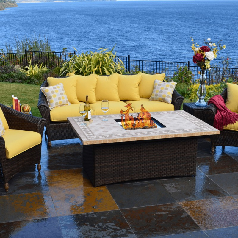 patio furniture seattle rattan chairs and table yellow cushion fire place on table flower vase