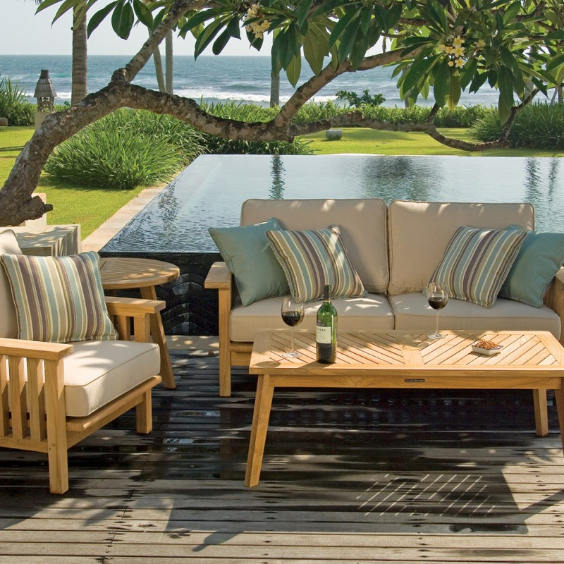 patio furniture seattle wooden cushioned chairs wooden circle and rectangle tables blue pillow