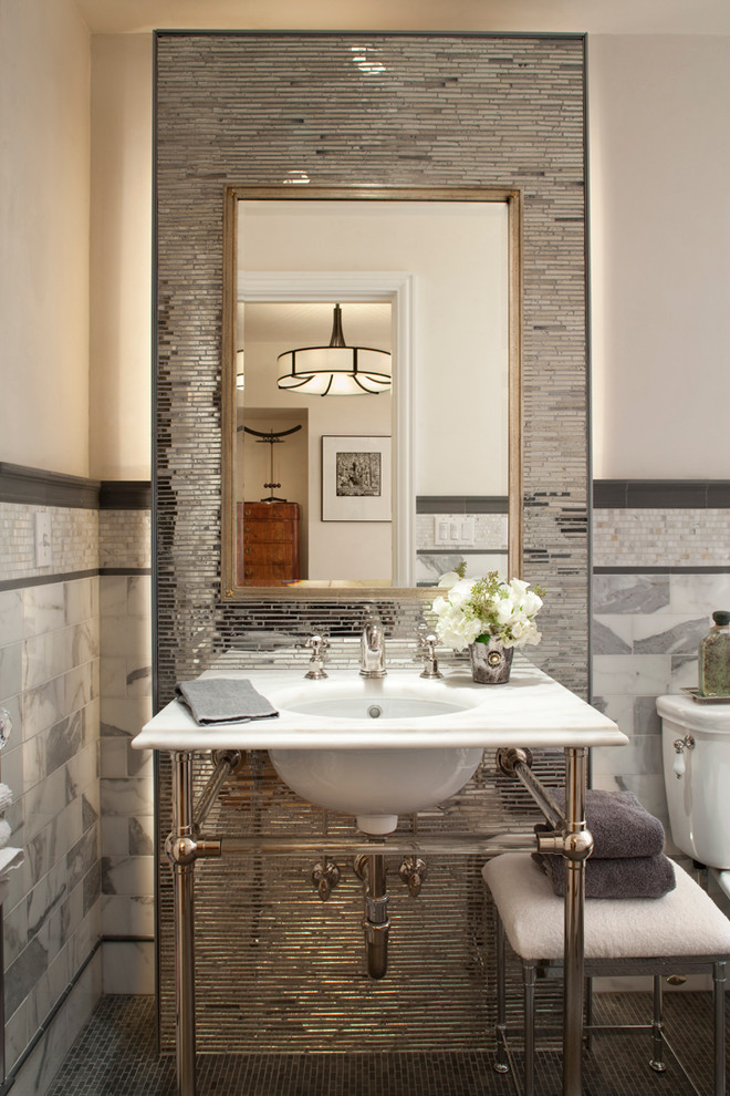 pedestal sink with backsplash faucet hanging lamp chair mirror transitional style