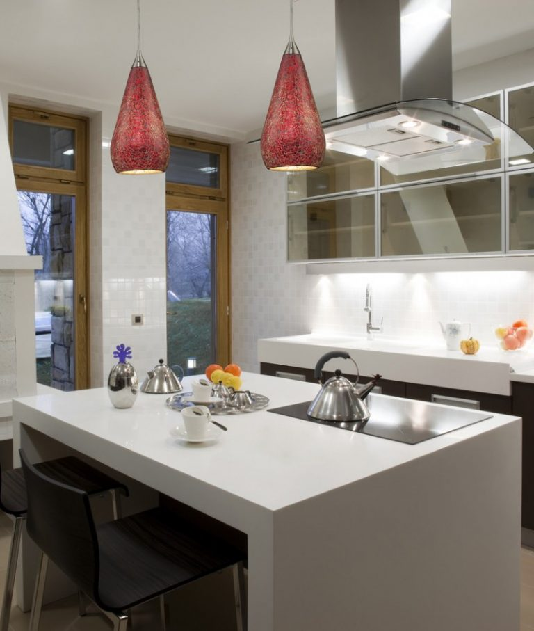 Covering Glass Kitchen Cabinets: Sparkling Pendant Lights For Kitchens