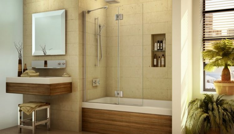 pivoting tub shield or tub screen minimalist bathroom plant decoration mirrored bathroom table