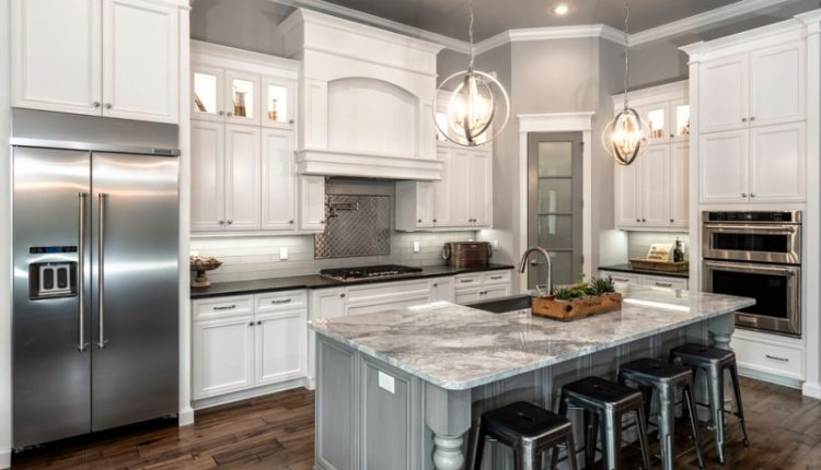 popular paint color for kitchens silver foret lantern with pivoting interlocking rings antique metal barstools carrara white marble basketweave mosaic tile