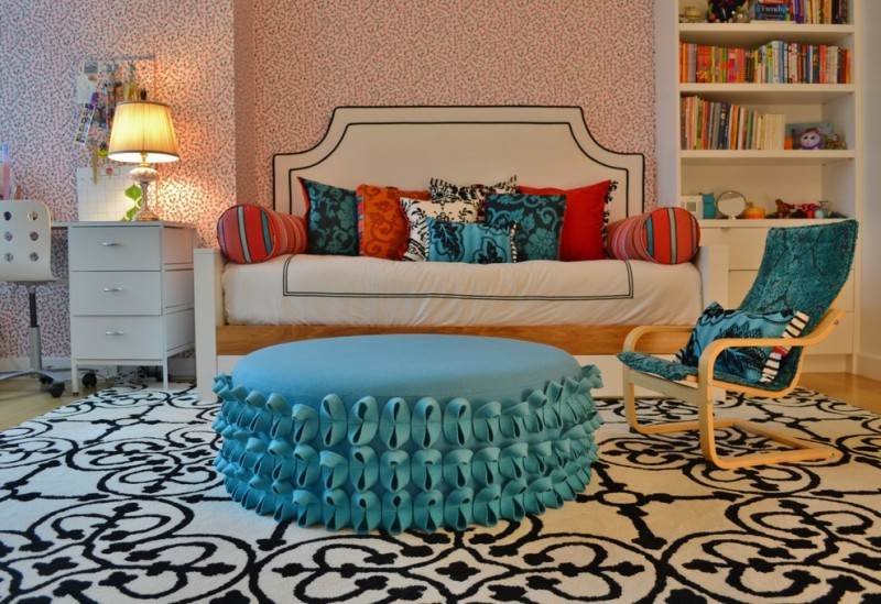 pottery barn daybed cover carpet chairs drawers desk shelves books pillows lamp contemporary kids room