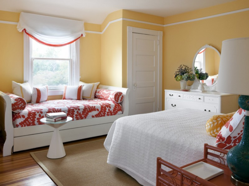 pottery barn daybed cover pillows bed drawers window mirror flowers lamp transitional bedroom