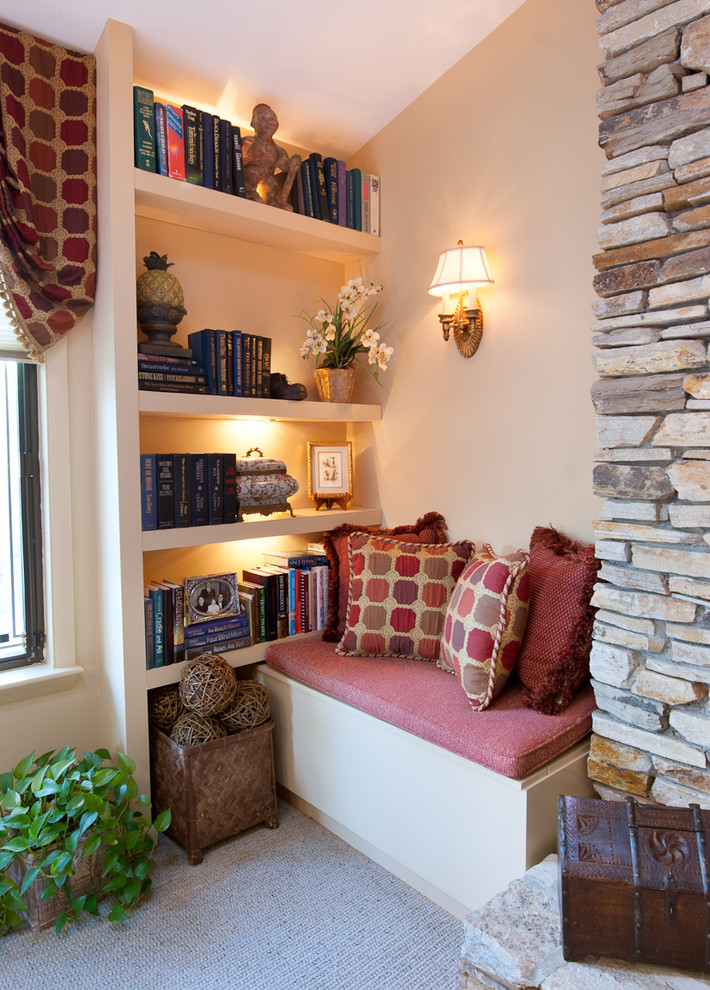 reading nook furniture built in bookshelves bookshelves lighting small space living reading bench patterned pillow