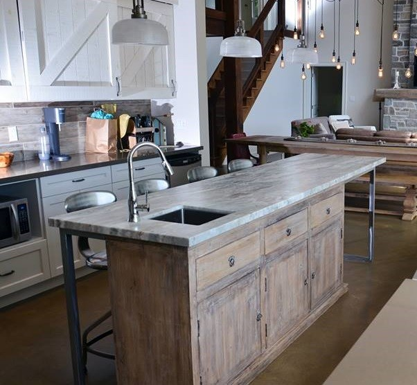 rustic kitchen island idea with storage and undermount sink metal made bar stools