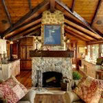 Rustic Living Room Small A Frame Cabin Plans Simple Comfortable Couch Fireplace Coat Hanger