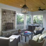 screened in patio ideas fireplace patio furniture boxed chandelier black fan rectangular glass table nice pillow