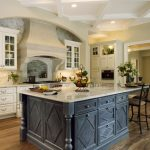 Shabby But Stylish Dark Toned Wood Kitchen Island With Extended Solid Surface Old Look Chairs