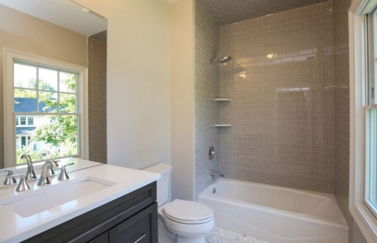 Shaker Cabinets Walk In Shower Tub Combo Gray Tile Ceramic Floors Porcelain  Tile Black Cabinets Two