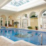 Skylight Enclosure For Mediterranean Interior Pool Large Interior Pool White Tiles Floors