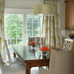 Sliding Glass Door Drapes Cream Iron Hardware Bright Flowery Curtain Wooden Dining Table White Sliding Door