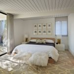 Sliding Glass Door Drapes Midcentury Bedroom White Mongolian Lamb Bench Buckwheat Sleeping Pillow Grey Drapes