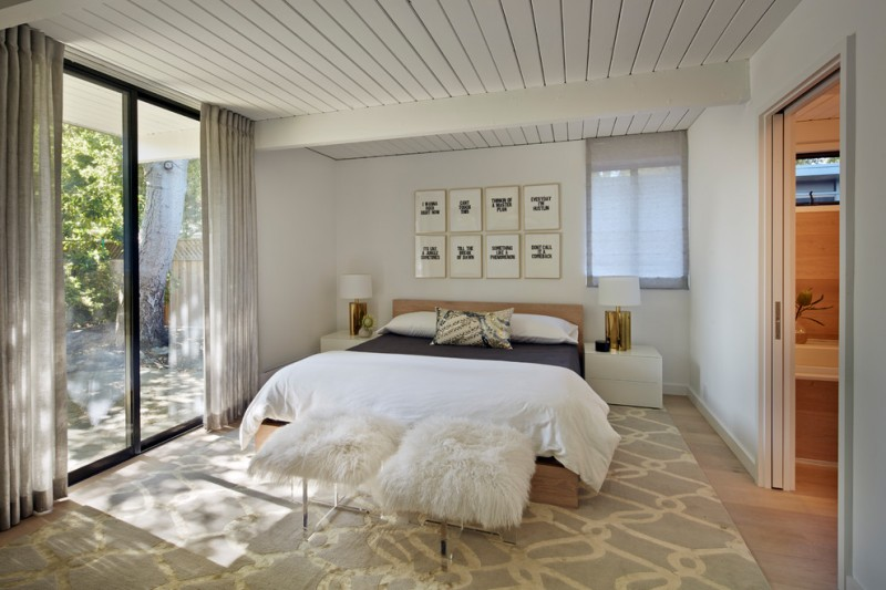 sliding glass door drapes midcentury bedroom white mongolian lamb bench buckwheat sleeping pillow grey drapes