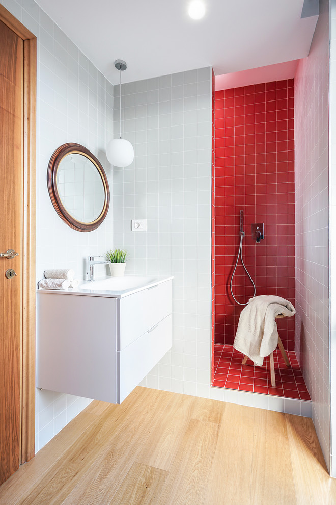 Small Bathroom With Red Tiles Shower Space Floating White Vanity Round  Shaped Mirror With Wood Frame