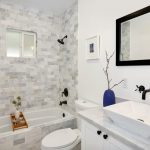 Small Bathtubs With Shower Faucets Wash Basin Toilet Mirror Small Window Transitional Bathroom