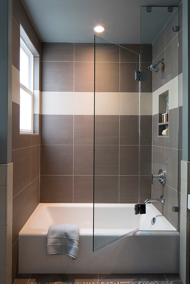 small bathtubs with shower towel window glass door wall storage ceiling light contemporary bathroom