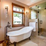 steam shower trendy bathroom designs sauna claw foot tub beige tile marble floors
