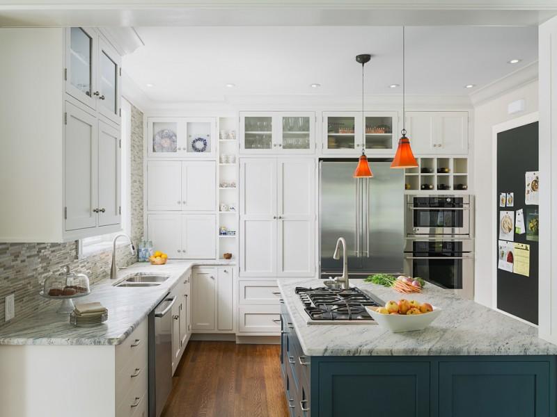 stove on grey granite top kitchen island